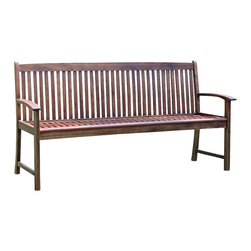 International Caravan - 3-Seater Outdoor Bench - All weather resistant. UV light fading protection. Beautiful contemporary garden bench design. Dual stain finish. Made from premium hudson acacia outdoor hardwood. Made in Vietnam. Assembly required. 65 in. L x 22.5 in. W x 35 in. H (59 lbs.)