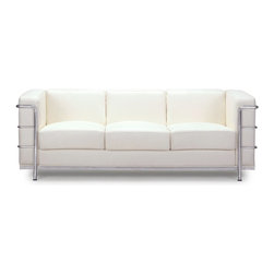 Zuo Modern - Zuo Modern Fortress Modern Sofa X-132009 - A Mid-Century classic series, the Fortress comes with leather seating, leatherette back and side with a chrome steel tube frame. It comes in black, white or espresso.