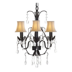 """The Gallery - Country French Wrought Iron Tolle chandelier Lighting with Shades - 100% crystalrought Iron chandelier. A Great European Tradition. Nothing is quite as elegant as the fine crystal chandeliers that gave sparkle to brilliant evenings at palaces and manor houses across Europe. This beautiful chandelier from the Versailles collection has 3 Lights and is decorated and draped with 100% crystal that captures and reflects the light of the candle bulbs. The frame is wrought iron, adding the finishing touch to a wonderful fixture. The timeless elegance of this chandelier is sure to lend a special atmosphere anywhere its placed! Shades included. Size: H. 18"""" x W. 14"""". Light: 3 Lights."""