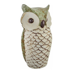 Zeckos - Mottled Sage Green Ceramic Owl Statue 10 Inches Tall - This ceramic owl statue adds an elegant accent to your home or garden. The back of the statue is a lovely mottled sage green color, and the face and breast feathers are tan, accented with brown. The owl measures 10 inches tall, 5 1/4 inches wide, 4 1/4 inches deep. This unique item is sure to be admired, and makes a great gift for any owl loving friend.