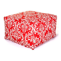 Majestic Home - Indoor Red and White French Quarter Large Ottoman - When it comes to decor, you always use your bean — so this fun, fresh ottoman is a natural. It's versatile enough to function as coffee table, footstool or seat and stylish enough to wow the crowd in your favorite modern setting.