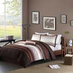 Mi-Zone - Mizone Marcus 4-piece Comforter Set - For a rich update to the bedroom, the Mizone Marcus Comforter Set is the perfect solution. The chocolate brown and white base use striping and pops of orange to create a unique look.