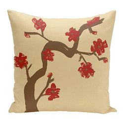 e by design - Floral Tree Beige and Red 18-Inch Cotton Decorative Pillow - - Decorate and personalize your home with coastal cotton pillows that embody color and style from e by design  - Fill Material: Synthetic down  - Closure: Concealed Zipper  - Care Instructions: Spot clean recommended  - Made in USA e by design - CPO-NR10-Ginger_Dragon-18