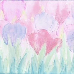 York Wallcoverings - Blue Pink Tulips Wallpaper Border - Wallpaper borders bring color, character and detail to a room with exciting new look for your walls - easier and quicker then ever.