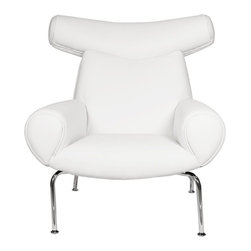 White Line Imports - Contemporary Chair in White - Chrome legs. Wipe clean with a dry cloth. Made from leatherette. No assembly required. 36 in. W x 39 in. D x 39 in. H (53 lbs.)