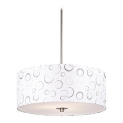 Nickel Drum Pendant Light with White Patterned Shade -