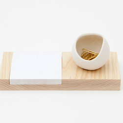 Ash and Porcelain Desk Catchall by Fashioned By - I'm a nut when it comes to being organized around my workspace. A pad of paper plus a sweet bowl to hold gold paper clips? Yes, please!