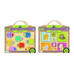 "Innovative Kids Start Chunky Wooden Puzzle Combo Pack - The Innovative Kids Start Chunky Wooden Puzzle Combo Pack contains eight pieces for each puzzle. The four big pieces and four small pieces on the """"big and little"""" puzzle can be combined in as many ways as your child can imagine while the """"swish fish"""" puzzle allows for solving shapes and making an array of pattern arrangements. Both puzzles are earth friendly and crafted with wood from sustainable forests. About Group Sales IncSince 1991 Group Sales Inc has strived to become the first provider in quality toys and gifts by meeting the challenge with the finest products at competitive prices. Group Sales Inc has diversified their portfolio of products for customers of all ages and interests by becoming the US distributor for brands such as New Bright's remote controlled line or the arts and crafts products of NSI. Group Sales Inc even supplies top-of-the-line products for pets from Zaidy."