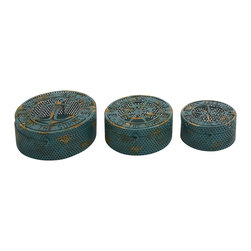 Fascinating Blue Polished Metal Box, Set of 3 - Description: