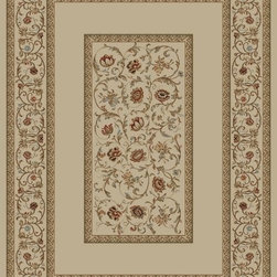 "Concord Global - Concord Global Ankara Floral French Scrolls Border Ivory  6'7"" x 9'6"" Rug (6232) - The Ankara collection is made of heavy heat-set olefin and has the look and feel of an authentic hand made rug at a fraction of the cost. New additions to the line include transitional patterns that are up to date in the current fashion trend. Made in Turkey"