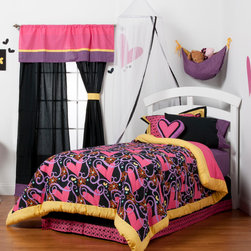 "Sassy Shaylee - Twin Set (3pc no sheets) - Let  ""Sassy Shaylee"" make a bold and beautiful statement of who you are! Enter a room that shouts out in color and style!  Bold black surrounded by a gorgeous pattern of stripes, hearts, flowers and curly swirly designs in hues of pink, purple, orange and a dynamic yellow!  This 3pc set includes twin comforter, twin bed skirt, 1 standard flanged pillow sham.  Sassy Shaylee twin comforter is reversible so depending on your style you can add a lot of detail or a little.  Comforter comes in our designer ""Sassy Swirl"" cotton print fabric framed in our bold yellow.  Bed skirt showcases bold black trimmed in ""Sassy Hearts"".  Standard flanged sham is gorgeous in detail using ""Sassy Hearts"" framed in yellow and black.  SAVE WHEN YOU BUY AS A SET!"