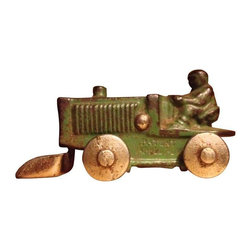 Used Vintage Cast Iron Snow Plow Tractor - They don't make them like this anymore! This cast iron tractor snow plow is stamped with a patent number. A real vintage piece that is full of charm!