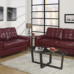 European Tuft Burgundy Leather Sofa Couch Loveseat Living Room Poundex - Set the standard and make a home décor statement with this living room sofa set in bonded leather. It's sharp design of accent tufting on the backrest, seat cushions and armrest gives it a ultra contemporary style. Its frame is supported by short silver plated legs with flat circular ends.