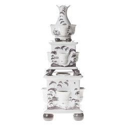 """Juliska - Juliska Country Estate Tulipiere Tower Set of 3 Flint Garden Follies - Juliska Country Estate Tulipiere Tower Set/3 Flint Garden Follies. This stunning tiered tower of three vases was inspired by the Tulipiere's of the 17th century, when exotic imported flowers were status-symbols of elite households and given their own individual places in the spotlight. Dimensions: 7"""" W x 19.5"""" H"""