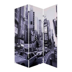 New York City Screen - Urban renewal: Check out your new 'hood. You have easy access to downtown and a view to die for. This canvas screen gives you two dynamic perspectives of the city that never sleeps.