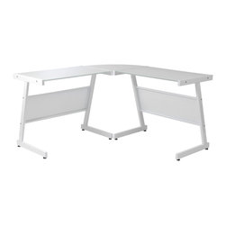 Euro Style - Luigi L Desk - White/Pure White Glass - Looking for an instant workstation? How about a steel frame and glass top in clear glass or white. Plus: a well-fitted corner surface to maximize space and a stylish and solid platform for getting things done. Problem solved.