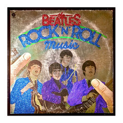 "Glittered Beatles Rock n Roll Music Album - Glittered record album. Album is framed in a black 12x12"" square frame with front and back cover and clips holding the record in place on the back. Album covers are original vintage covers."