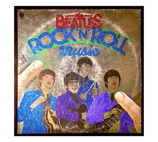 """Glittered Beatles Rock n Roll Music Album - Glittered record album. Album is framed in a black 12x12"""" square frame with front and back cover and clips holding the record in place on the back. Album covers are original vintage covers."""