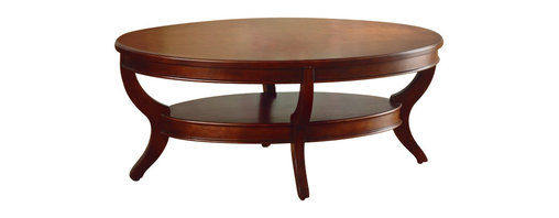 Homelegance - Homelegance Avalon Oval Cocktail Table in Cherry - Homelegance - Coffee Tables - 120530 - This clean-lined transitional occasional group takes its roots from the art deco era of the 193's. The Avalon collection is both straight forward and dramatic. Excitement comes from its simple yet elegant design. Streamlined bowed fronts add movement and the glass insert of the round cocktail table provides additional drama. Constructed of maple veneer with select hardwood in a contemporary cherry low sheen finish.