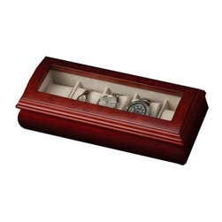 Mele Emery Glass Top Cherry Watch Box - 11W x 3.25H in. - A house for your favorite accessories the Mele Emery Glass Top Cherry Watch Box is the perfect addition to bureaus and vanities. Finished in a classic cherry and designed with a domed glass top this watch box holds more than the time. Five compartments could hold everything from cuff links to rings and of course watches making it a great his and her accessory box. Complete with brass-toned hinges.About MeleEmidio Mele an Italian immigrant to the United States came to New York City in 1896 and learned to make jewelry boxes as an apprentice before founding Mele Manufacturing in 1912. He began by designing and building elegant displays for jewelry store windows. His jewelry box-making business grew throughout the 1900s responding to demands for boxes to hold Purple Hearts during WWII and developing as a popular household name for quality jewelry boxes. Today Mele Jewelry Box is known as the Mele Companies which encompass various divisions under the Mele name. Now based in Utica N.Y. Mele still upholds the family atmosphere on which it was founded and remains America's foremost name in jewelry cases.
