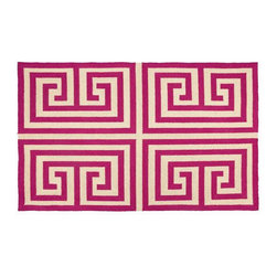 "Trina Turk Residential - Greek Key Pink Rug - The ancient Greek key becomes a modern geometric motif with the foursquare design of this rug by Trina Turk. Handcrafted with a focus on contemporary style for your kitchen, bath, or living space. Features: -Contemporary style.-Handcrafted.-Rug pad recommended (not included).-Vacuum regularly.-Avoid direct and continuous exposure to sunlight.-Do not pull loose ends, clip them with scissors to remove.-Clean liquid spills immediately by blotting with cloth or sponge.-For hard to remove stains, professional rug cleaning is recommended.-Greek Key collection.-Distressed: No.-Collection: Hook Rugs.-Construction: Handmade.-Technique: Hooked.-Primary Pattern: Greek Key.-Primary Color: Pink.-Border Material: Wool.-Border Color: Pink.-Type of Backing: Cotton Canvas Backing.-Material: 100% Wool.-Fringe: No.-Reversible: No.-Rug Pad Needed: Yes.-Water Repellent: No.-Mildew Resistant: No.-Stain Resistant: No.-Fade Resistant: Yes.-Swatch Available: No.-Eco-Friendly: No.-Recycled Content: No.-Outdoor Use: No.-Product Care: Spot Clean Only.Specifications: -100% Wool with cotton canvas backing.-CRI certified: No.-Goodweave certified: No.Dimensions: -Overall Product Weight: 8 lbs.-Pile Height: 0.5"".Warranty: -Product Warranty: 3 years with proper care."