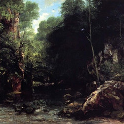 "Gustave Courbet The Shaded Stream (also known as The Stream of the Puits Noire) - 16"" x 24"" Gustave Courbet The Shaded Stream (also known as The Stream of the Puits Noire) premium archival print reproduced to meet museum quality standards. Our museum quality archival prints are produced using high-precision print technology for a more accurate reproduction printed on high quality, heavyweight matte presentation paper with fade-resistant, archival inks. Our progressive business model allows us to offer works of art to you at the best wholesale pricing, significantly less than art gallery prices, affordable to all. This line of artwork is produced with extra white border space (if you choose to have it framed, for your framer to work with to frame properly or utilize a larger mat and/or frame).  We present a comprehensive collection of exceptional art reproductions byGustave Courbet."