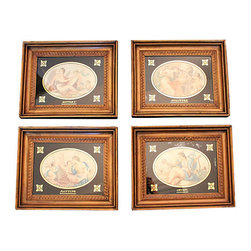 Consigned Suite of 4 Framed Art Pieces - Set of four gold leaf framed art featuring the four muses; painting, music, sculpture and history. Each piece is framed in a gold leaf frame with reverse gilding on glass. The back features a marking from W. Boswell an esteemed frame maker, gilder and art dealer from the famed Norwich School of Artists.