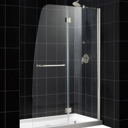 DreamLine - DreamLine SHDR-3148726-04 Aqua 48in Frameless Hinged Shower Door, Clear 1/4in Gl - The Aqua shower door combines a fresh look with a frameless design for an amazing value. The Aqua shower door stands out with a striking curved silhouette, while the full length wall profile provides an easy installation. Give your bathroom renovation a touch of brilliance with the gracefully curved lines of the Aqua shower door. 48 in. W x 72 in. H ,  1/4 (6 mm) clear tempered glass,  Chrome or Brushed Nickel hardware finish,  Frameless glass design,  Out-of-plumb installation adjustability: Up to 1/4 in. one side,  Hinged door and stationary side glass panel,  Solid brass hinges,  A convenient towel bar on the outside panel,  Stationary panel: 23 11/16 in.,  Reversible for right or left door opening installation,  Material: Tempered Glass, Aluminum