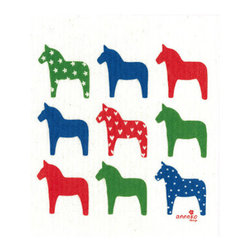 Swedish Dishcloth Dala Horse, Multi-Color - THE SWEDISH ECO-FRIENDLY DISHCLOTH: The dry sponge cloth was invented in 1949 by the Swedish engineer Curt Lindquist, who discovered that a mixture of natural cellulose (wood pulp) and cotton can absorb an incredible 15 times its own weight in water.