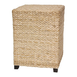 Oriental Furniture - Rush Grass Square Coffee Table - Natural - Lightweight, practical rattan style end table/nightstand. Well crafted kiln dried wood frame, lightweight and sturdy, with a smooth 'V' woven rush grass surface.