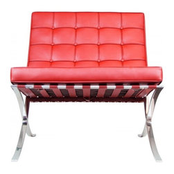 IFN Modern - Barcelona Chair Reproduction - Italian Leather, Red - Our Barcelona chair reproduction was inspired by Mies Van Der Rohe's mid-century furniture. The main source of inspiration for this piece comes from the 1929 German Pavilion where Mies and Lilly Reich showcased a gorgeous chair now known worldwide as the Barcelona Chair.