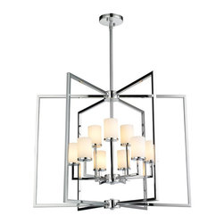 Golden Lighting - 9-Light Chandelier in Metallic Chrome Finish - Include nine 40W G9 halogen bulb. Modern style. Reiterative right angles are highlighted by the sleek chrome finish. Strong rectangular cages encase geometric arms. Cased opal glass casts a soft glow. Made from iron and glass. Fixture width: 27 in. . Fixture height: 21.75 in.. Wire length: 10 ft.. Shade: 2.375 in. Dia.. x 3.5 in. H. Back plate: 4.5 in. Dia. x 0.75 in. H