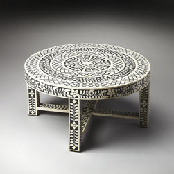 Amanda Black Bone Inlay Cocktail Table - This fabulous coffee table with intricate details exudes charm and global-chic style. It would definitely be a focal point in any room!