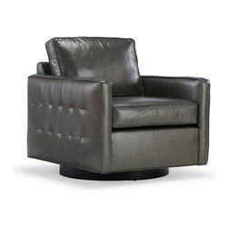 """Mitchell Gold + Bob Williams - Swivel Chairs - Paxton swivel chair with grid-tufting on outside…32""""W x 32""""D x 34""""H"""