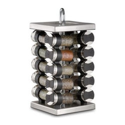 Olde Thompson - Stainless Steel 20-Jar Spice Rack - Attractive stainless steel spice rack holds 20 of the most popular gourmet spices such as thyme, oregano, paprika, poppy seed and more. Each glass jar holds three ounces and has a flip lid to allow easy pouring or shaking.