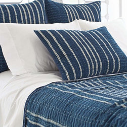 Indigo Resist Stripe Bedding Set - Bring an element of cool, fresh style to your bed with this gorgeous coverlet and sham collection.