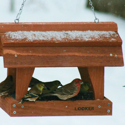 Songbird Essentials - Fly Thru Barn Feeder - Has a 12 inch x 8 inch screen bottom tray with stylish gambrel roof. Made of red cedar and hangs with a sturdy chain.