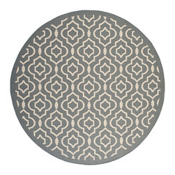 Safavieh - Courtyard Anthracite and Beige Round: 7 Ft. 10 In. x 7 Ft. 10 In. Rug - - Safavieh takes classic beauty outside of the home with the launch of their Courtyard Collection. Made in Turkey with enhanced polypropylene for extra durability these rugs are suitable for anywhere inside or outside of the house. To achieve more intricate and elaborate details in the designs Safavieh used a specially-developed sisal weave  - Pile Height: 0.25  - Construction: Machine Made  - Easy to Clean?Just sweep vacuum or rinse off with a garden hose. Safavieh - CY6926-246-8R