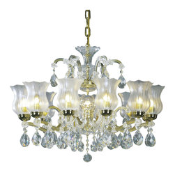 """Inviting Home - Maria Theresa Crystal Chandeliers (Select Crystal) - clear and gold Maria Theresa style crystal chandelier with frosted crystal parts; 33"""" x 27""""H (13 lights); assembly required; 13 light select clear crystal chandelier with hand-molded arms frosted crystal components and cut crystal trimmings; all metal parts have gold finish; genuine Czech crystal; * ready to ship in 2 to 3 weeks; * assembly required; This chandelier is a part of Maria Theresa Collection. At their start the chandeliers bearing the name of Maria Theresa were made on the occasion of the Empress's coronation as queen of Bohemia in 1743. This fact is hidden in the shape of these lighting fixtures reminiscent of the royal crown. Their characteristic feature is the arms' typical flat surface clad with glass bars. The bars are fixed to the arms by glass rosettes and beads with dangling cut crystal chandelier trimmings. These ravishing fixtures were inspired by a chandelier made for Maria Theresa in Bohemia in the mid 18th century. However not only the empress became fond of it; so did many others who fancied the style and the majestic manners after her. Typical elements are metal arms overlaid with glass bars and decorated with crystal rosettes. Originally the trimming was made of typical flat drops called """"pendles"""". Today trimmings of various shapes are used. Select crystal (or standard). Hand cut or partly machine cut chandelier trimmings. Inspired by rich glassmaking tradition as well as modern trends these crystals are characterized by distinct fire rainbow sparkle and purity of shape. Each piece is checked for accuracy of cut and its high quality is guaranteed. They will satisfy even the most discriminating customers. Chandelier trimmings of the Select type offer an opportunity to those searching for quality at a great value. The tradition of production luxurious appearance and classical morphology are the common denominator of all these chandeliers. To manufacture these almost 90 per"""