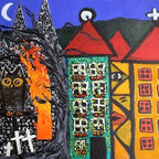 """Owl By Fire"" (Original) By Diane Green - One The Left Is A Hoot Owl Perched In Front Of A Burning Church And Graveyard. The Church Front Is Covered With Lots Of Tiny Faces. At The Right There Are Nice Undamaged  Buildings, One With A Face. I Have A Few Paintings In A Series In This Naive Style With Owls. The Story They Tell Is Up To The Viewer."