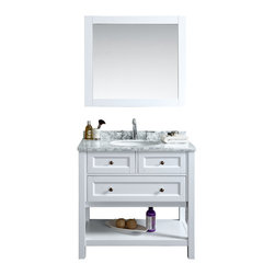 "Ari Kitchen and Bath - Hampton 36"" Bathrooom Vanity and Mirror - Beautiful cottage style bathroom vanity by Ari Kitchen and Bath, a new brand manufacturing quality bathroom decor at affordable prices.  The new 36"" Hampton comes with 1"" edge Italian carrara marble top, backsplash,  undermount CUPC basin, soft-closing drawer, concealed drawer hinges, white framed mirror and white solid wood bathroom cabinet. Absolutely no MDF or Particle board on all of our bathroom vanities. All of our bathroom vanities come assembled by the manufacturer, minimal assembly required."