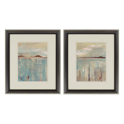 Paragon Decor - Horizon Set of 2 Artwork - Softened shades and muted hues illuminate a distant shoreline.
