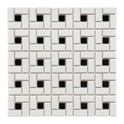 Somertile - SomerTile 12.5x12.5-in Spiral 1x2-in White/Black Porcelain Mosaic Tile (Pack of - Its pattern of black and white rectangles allow this glazed porcelain mosaic tile to add style to your kitchen, bathroom, or swimming pool. This tile will match any decor in your home with its graceful simplicity in both style and color.