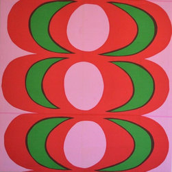 Pre-owned Marimekko Fabric Panel by Maija Isola KAIVO 1968 - Gorgeous Marimekko stretched fabric panel!  This piece was designed by Maija Isola in 1968 and named Kaivo.  It exibits modern fluid lines with bright vivid colors.  Fabric has been stretched over a 50 x 50 wooden frame for hanging retaining the original designer, maker, and date on the back.  It is in excellent condition with only a  few faint discoloration marks.