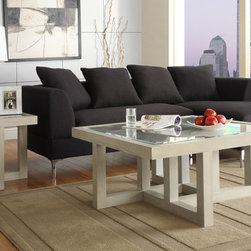 Homelegance - Homelegance Guerrero 2 Piece Square Glass Coffee Table Set in Cool Grey - The highly contemporized styling of the Guerrero Collection will blend perfectly with your modern décor. Inset glass gives you a clear view of the geometric framework, making the table collection not just a functional piece of furniture but art as well. The oak veneer is complimented by a cool grey finish further lending to the modern feel. - 3444-01-2-SET.  Product features: Oak veneer; Inset glass gives you a clear view of the geometric framework; Square Table Top Shape; Cool Grey finish. Product includes: Cocktail Table (1); End Table (1). 2 Piece Square Glass Coffee Table Set in Cool Grey belongs to Guerrero Collection by Homelegance.