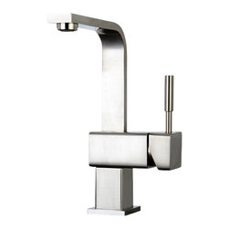 "Mono Block Deck Mount Lavatory Faucet - This Mono Block Deck Mount Bathroom or Lavatory Faucet combine architectural form with clean design lines to give you a modern look in your bathroom.  It has a satin nickel finish and features a spout clearance of 8 1/4"".  Made with our finest solid brass, it ensures quality and reliability."