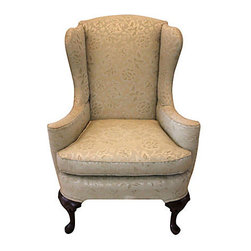 1950's Ivory Wing Chair - Soul and Love Designs.  This vintage wingback chair is in impeccable condition and can be used just the way it is or upcycled with one of our or your favorite fabrics!