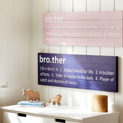 Sibling Plaques - These signs are perfect for filling a nursery with slightly sophisticated decor. They feature definitions for brothers and sisters in blue and pink respectively. It's an adorable gift for a soon-to-be older sibling.