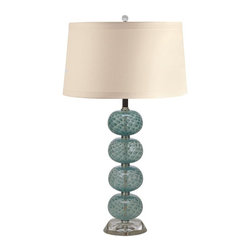 Lamp Works - Glass Hand Blown Table Lamp in Aqua Ball (Aqua Ball) - Color: Aqua Ball. Mounted on base of handmade blown glass. Topped with a shade of cotton. Design is gorgeous example of Vintage Retro styling. Three way switch. Used up to 100 Watt lightbulb. UL approved. Shade made from linen. Shade: 13 - 15 in. Dia. x 10.5 in. H. Overall: 14 in. Dia. x 29 in. HEach of the stacked glass orbs is masterfully mouth blown using a centuries old technique developed by the artisans of Murano, Italy. No two orbs will be identical, imbuing each lamp with an individuality all its own.