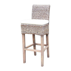 Four Hands - Banana Leaf Barstool With Cushion, Grey Wash - Give your favorite casual setting a touch of the tropics with this cool counter stool. The seat of woven banana leaf makes a striking alternative to wicker and sits on an abaca wood frame with a simple canvas cushion.